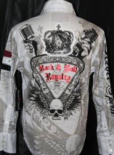 REBEL SPIRIT MENS AWESOME ROCK & ROLL ROYALITY CASUAL SHIRT SIZE S L