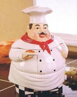 FAT CHEF COOKIE JAR French Kitchen Decor Snack Canister Ceramic Portly