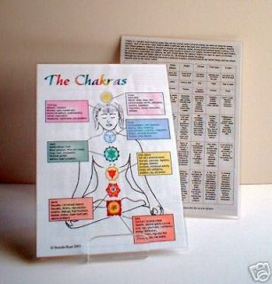 Chakra Healing Chart   a core information chart unique product A5 size