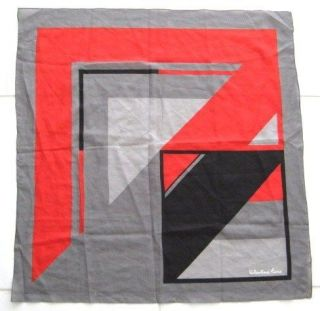 VINTAGE VALENTINA FIORE SCARF GRAY RED BLACK ABSTRACT PRINT MADE IN