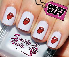 20 Cheeky Rolling Stones Tongue Nail Art Transfer Decal Stickers (#115