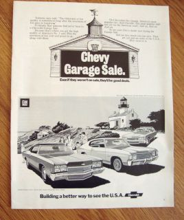 1972 Chevrolet Chevy Garage Sale Ad Impala Malibu Kingswood Estate