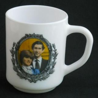 Arcopal France ~ Prince Charles & Lady Diana Milk Glass Coffee Cup Mug