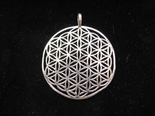 Authentic Sacred Flower of Life Pendant, Sterling Silver Extra Large
