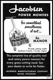 1953 Jacobsen Manufacturing Co. Power Lawn Mowers The Manor Vintage