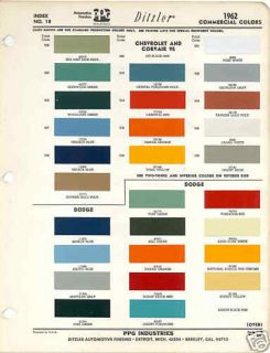 1962 Chevrolet Dodg e Truck Paint Color Chart PPG 62