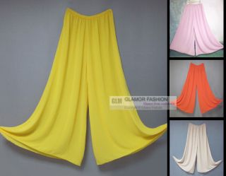 Chiffon Palazzo Pants Slacks Split Skirt XS~3XL #GF433