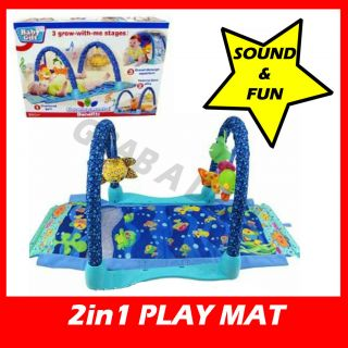 NEW 2in1 OCEAN BABY PLAY MAT BLUE ACTIVITY GYM ANIMALS FUN SOUNDS