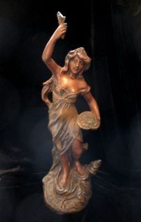 French ART NOUVEAU Spelter Bronze Statue Sculpture LADY Sowing MONEY