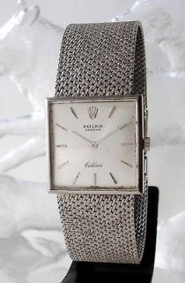 1969s SQUARE ROLEX CELLINI MANUAL WIND 18K SOLID WHITE GOLD LADIES
