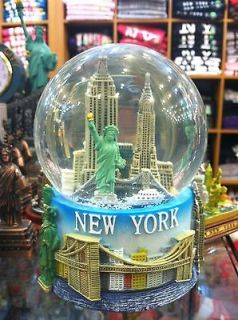 100 mm Musical New York City Snow Globe, Colored Base, Large Size