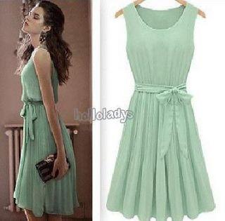 Nice looking Green Summer Sleeveless Vest Dress Chiffon Dress Skirt