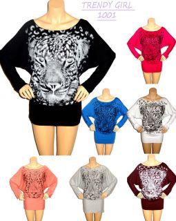 Womens Batwing Leopard Print Ladies Stretch Long Sleeve Glitter Plus