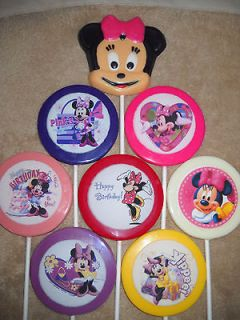 Chocolate Edible Decal 3 Rounds Minnie Mickey Mouse Lollipops