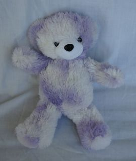 Glo E Teddy Bear Toy Purple White Fuzzy Talking Soft Stuffed Plush 15