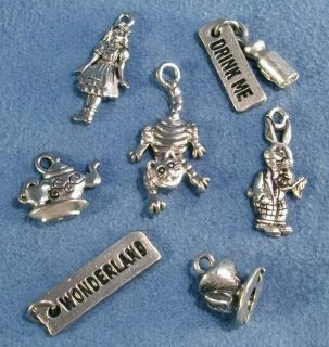 Alice Drink Me Mad Hatter Cheshire Cat in Wonderland Silver Charms