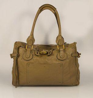 Authentic CHLOE Paddington Beige / Tan Leather Satchel Bag with lock