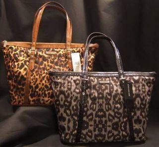 NWT Jones New York Cheetah Animal Printed Nylon Tote Handbag Purse