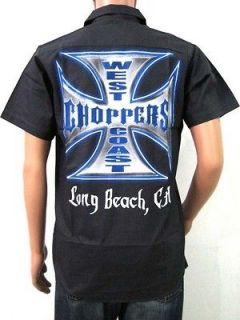 WEST COAST CHOPPERS WORK SHIRT CUSTOM MOTORCYCLE BIKER ROCK RIDER