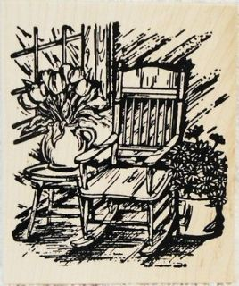 Northwoods Rubber Stamps Spring Porch Rocker Chair Flowers Rocking