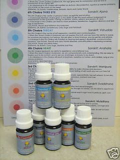 CHAKRA set 7 X 10ml PURE essential oil w/ FREE chart
