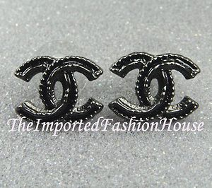 CHANEL CLASSIC GLOSSY BLACK LARGE CC LOGO STUD POST EARRINGS NEW