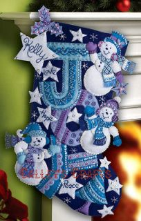 Joy Snowmen ~ 18 Felt Christmas Stocking Kit #86328 ~ New 2012 Design