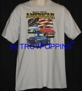 AMERICAN BUILT FLAG CHEVY 55 56 57 TRUCK T SHIRT GRAPHIC PRINTED TEE