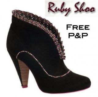 RUBY SHOO New Charisse Womens Black 100% Suede Ankle Boot Shoe
