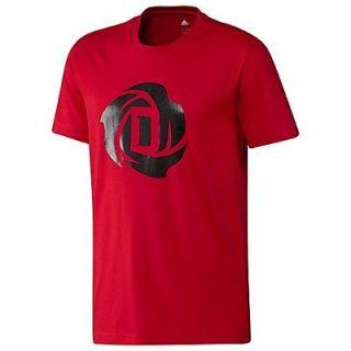Mens D ROSE LOGO Crewneck Tee Shirt Top Red Black Bulls Derrick