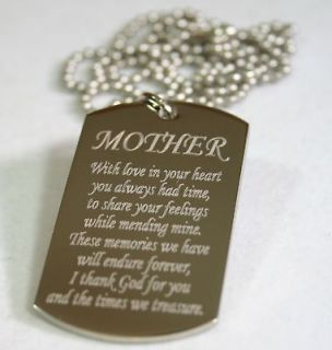 MOM MOTHER MESSAGE SPECIAL NECKLACE POEM DOG TAG