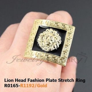 Lion Head Fashion Plate Stretch Ring