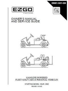 EZ GO Gas Power Golf Cart Owner & Service Guide Manual Please Read ALL