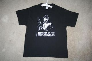 Medium SS Chuck Norris black & white I Dont Step On Toes T shirt   20
