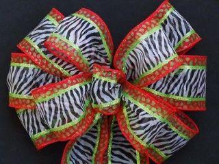 Tied Pew Bow Black White Animal Zebra Leopard Print Party Decoration