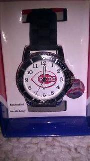 Game Time Cincinnati Reds Wrist Watch w/ Checkered Rubber Black Band