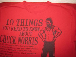 Chuck Norris T shirt. Red 10 things you need to know See Sizing