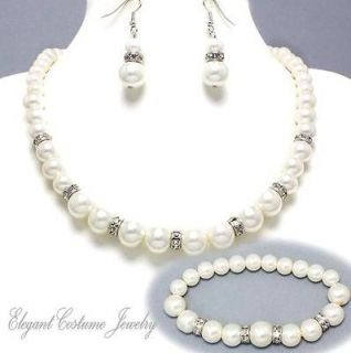 White Pearl Bracelet Necklace Set ~ Elegant & Chunky Jewelry