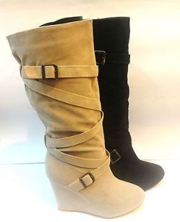 NEW LADIES WOMENS CALF LENGTH WEDGE BOOTS STRAPPY BUCKLE DETAIL SIZES