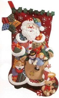 Discontinued PATCHWORK SANTA Felt Christmas Stocking Kit Toys NEW