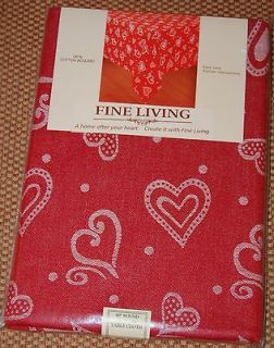 Fine Living Fabric Tablecloth Valentines Day Red White Hearts Cotton
