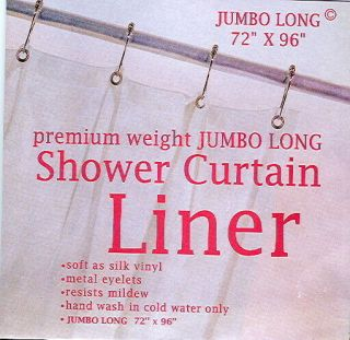 EXTRA LONG vinyl shower curtain liner clear color 96long