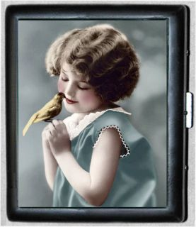 Little Girl with Bird Vintage Art Metal Wallet Cigarette Case #648