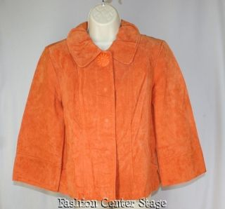 New LAL LIVE A LITTLE Womens Leather Swing Coat MEDIUM Bright Orange