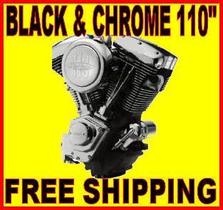 110 EVO BLACK & CHROME MOTOR ENGINE HARLEY SOFTAIL CHOPPER BOBBER