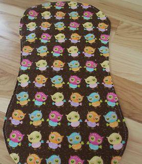 Handmade Hourglass Reversible Baby Girl Burp Cloths   Owl Themed