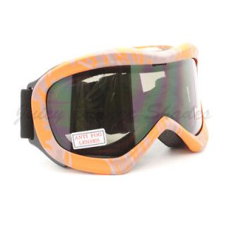 Ski Snowboard Goggles Anti Fog Shatter Proof Lens ORANGE Camo Print