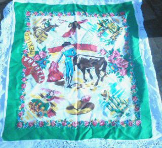 VINTAGE LARGE SOUVENIR TIJUANA MEXICO SCARF W BULL FIGHTER DONKEY CART