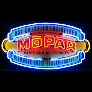 Neon sign Mopar Shield Chrysler Plymouth Dodge Desoto Hemi Challenger