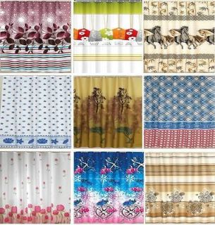 Funky Fabric Shower Curtains Extra Long   W180 x L200 cm Hooks